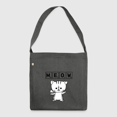 Scrabble Cat Meow - Funny Nerd Cat Scrabble - Shoulder Bag made from recycled material
