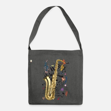 Sassofono Sax, piano e Note - Borsa in materiale riciclato