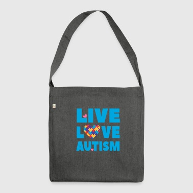Inlichting Over Autisme Autism Awareness - Live Love Autism - Schoudertas van gerecycled materiaal