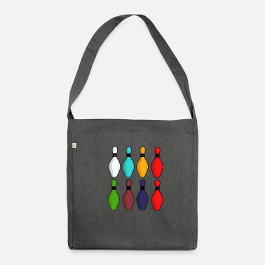 Skittles Vintage bowling skittles gift - Shoulder Bag made from recycled material