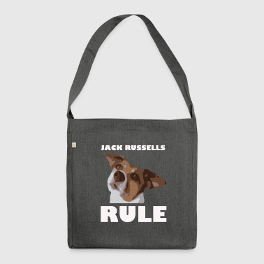 Jack russels rule2 white - Schultertasche aus Recycling-Material