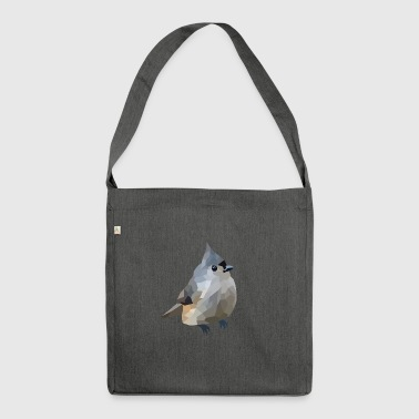 Polygon Art: Tufted Titmouse - Schultertasche aus Recycling-Material