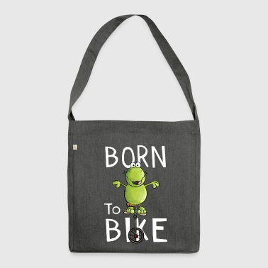 Born To Bike - Frosch - Einrad - Fahrrad - Comic - Schultertasche aus Recycling-Material
