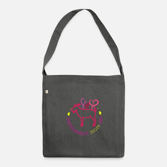 Gift Idea Bags & Backpacks - Crazy goats Lady Farmer Livestock - Shoulder Bag recycled dark grey heather