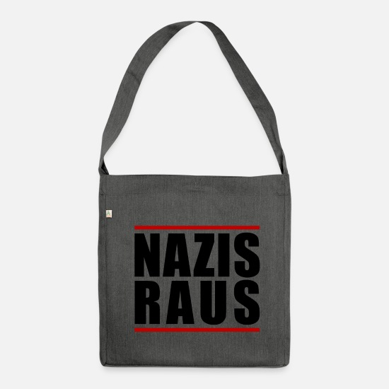 Antifascist Bags & Backpacks - NAZIS OUT - Shoulder Bag recycled dark grey heather