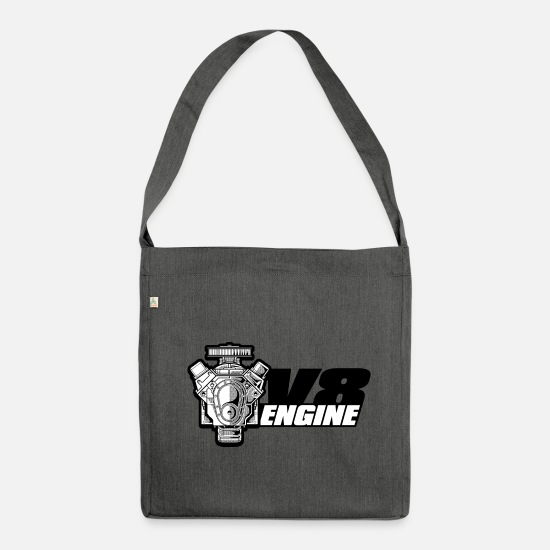 Motor Bags & Backpacks - V8 engine engine - Shoulder Bag recycled dark grey heather
