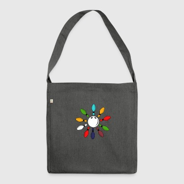 Bowling skittle gift vintage - Shoulder Bag made from recycled material