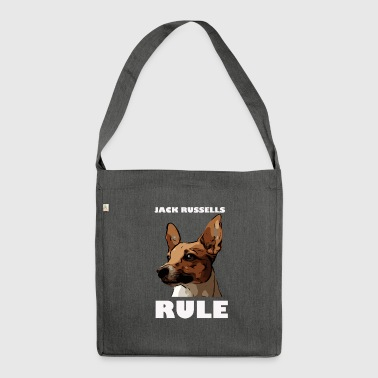 Jack russels rule white - Schultertasche aus Recycling-Material