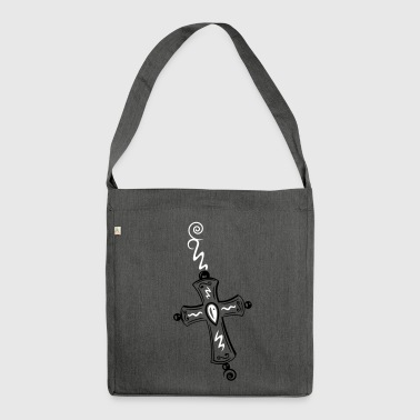 Cross, Crucifix, with gemstone and spirals. - Shoulder Bag made from recycled material