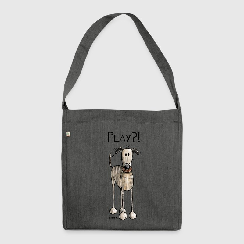 Play Galgo Espanol - Hund - Greyhound - Comic - Schultertasche aus Recycling-Material