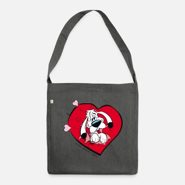 Officialbrands &amp Asterix & Obelix - Idefix heart Teenager T-Shirt - Shoulder Bag recycled