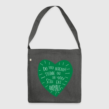 Provocative VEGAN saying - Shoulder Bag made from recycled material