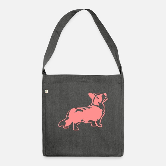 Welsh Bags & Backpacks - Welsh Corgi Cardigan - Shoulder Bag recycled dark grey heather