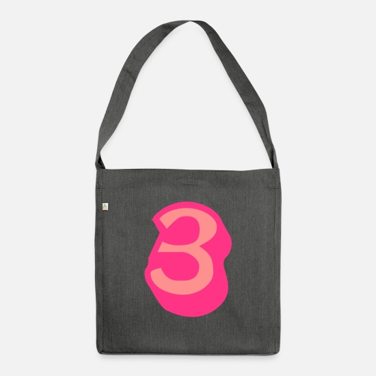 Most Loved Cool Numbers Vector Design For Favorite Number Clothes Cool Gym T Shirts Bags & Backpacks - ★Cool Number Three 3-Best Jersey Uniform Number★ - Shoulder Bag recycled dark grey heather