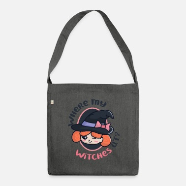 Witch Witch with witch hat - Shoulder Bag recycled
