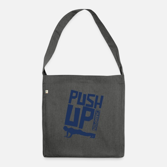 Gift Idea Bags & Backpacks - Pushups Push Up Fitness Sport - Shoulder Bag recycled dark grey heather