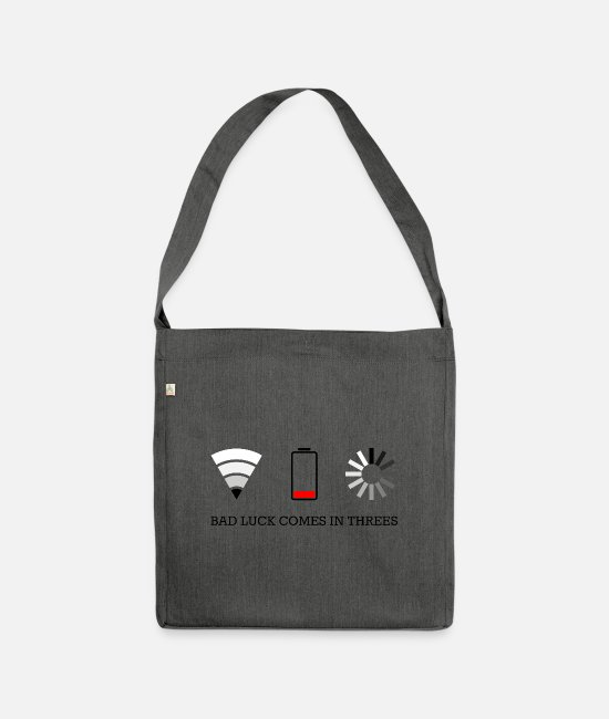 Wireless Bags & Backpacks - triple bad luck - Shoulder Bag recycled dark grey heather