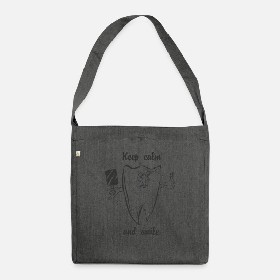 Keep Calm Crown Bags & Backpacks - Keep calm and smile - Shoulder Bag recycled dark grey heather