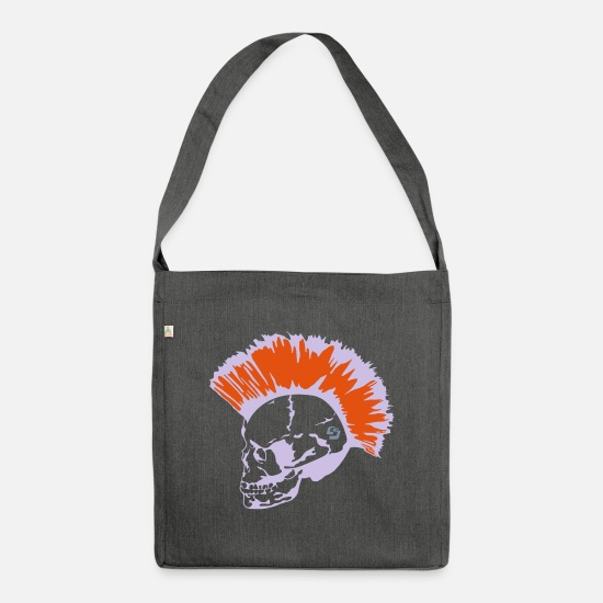 Death Bags & Backpacks - skin head 3 by CustomStyle - Shoulder Bag recycled dark grey heather