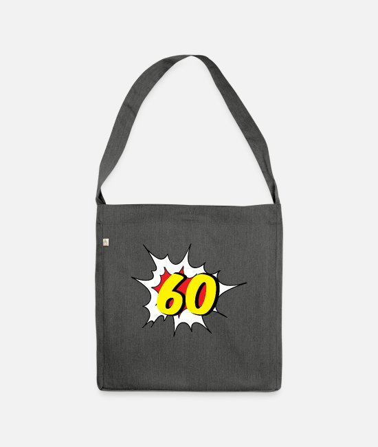 60th Birthday Bags & Backpacks - 60th birthday: 60 - Shoulder Bag recycled dark grey heather