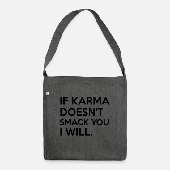 Provocation Bags & Backpacks - Karma spell humorous provocative gag - Shoulder Bag recycled dark grey heather