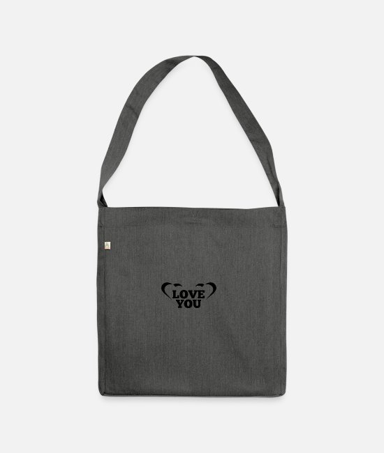 Testosterone Bags & Backpacks - LOVE YOU with heart - Shoulder Bag recycled dark grey heather