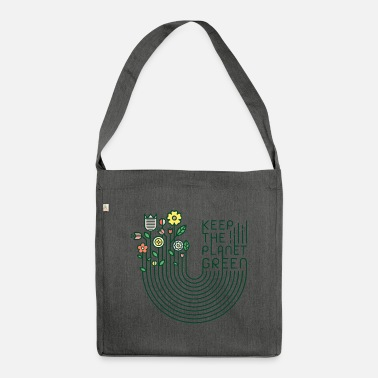 Flowers & lettering (keep green, minimal) - Shoulder Bag recycled