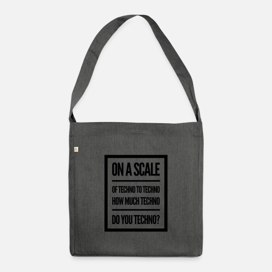 Gift Idea Bags & Backpacks - Technorave Psytrance | Techno music Gift idea - Shoulder Bag recycled dark grey heather