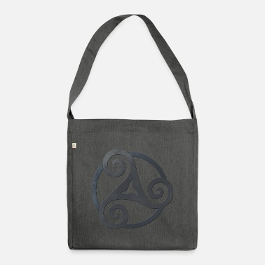 Celtic Symbol Triskele punched black celtic symbol - Shoulder Bag recycled