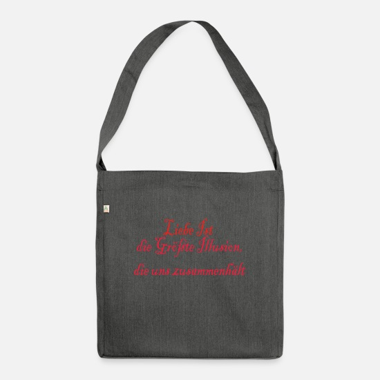 Love Bags & Backpacks - love is an illusion - Shoulder Bag recycled dark grey heather
