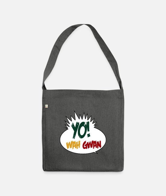 Rastafari Bags & Backpacks - Yo Wah Gwan - Shoulder Bag recycled dark grey heather
