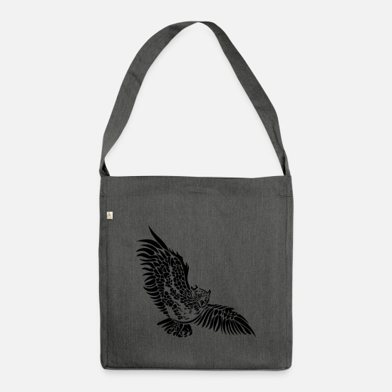 Owl Bags & Backpacks - Owl wing owl owl night owl - Shoulder Bag recycled dark grey heather