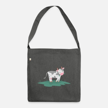 VEGAN shirt · cow on meadow · gift - Shoulder Bag recycled