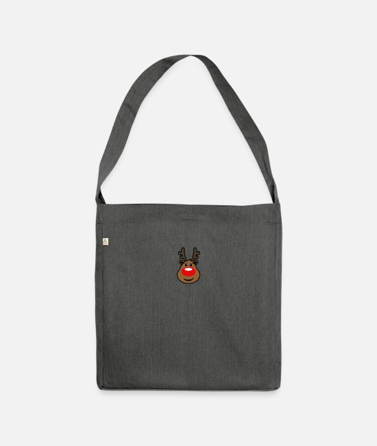 Christmas Carols Bags & Backpacks - Rudolph, the red nosed Reindeer Christmas design - Shoulder Bag recycled dark grey heather