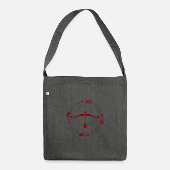 Gift Idea Bags & Backpacks - Bow and arrow - bow and arrow - Shoulder Bag recycled dark grey heather