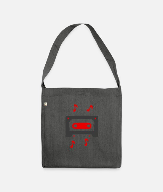 Song Bags & Backpacks - Music sound song cassette according to old school band - Shoulder Bag recycled dark grey heather