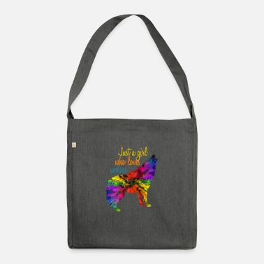 Just just a girl who loves wolves - Shoulder Bag recycled