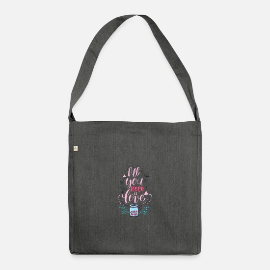 Love Bags & Backpacks - All you need is love - Shoulder Bag recycled dark grey heather