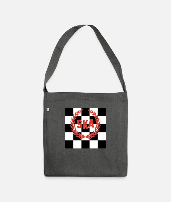 Ska Bags & Backpacks - SKA Checkered Skinhead Punk Music T-Shirt - Shoulder Bag recycled dark grey heather