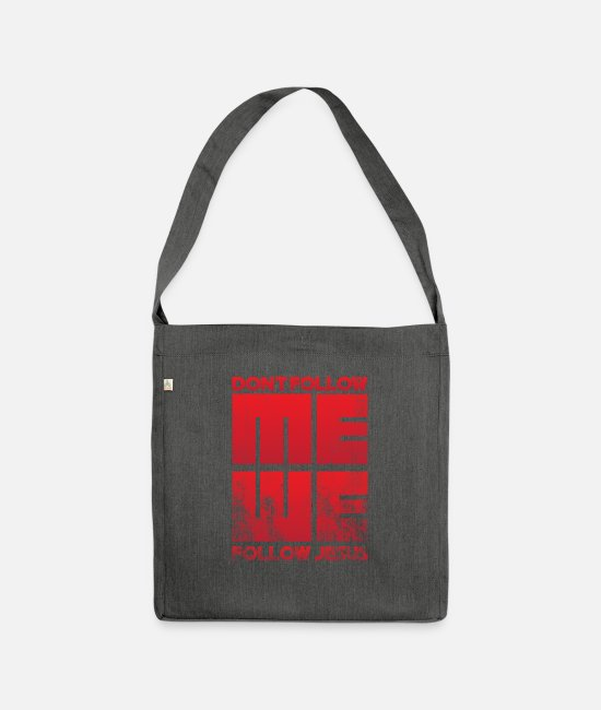 Easter Bags & Backpacks - Jesus - Do not follow me We follow Jesus - Shoulder Bag recycled dark grey heather