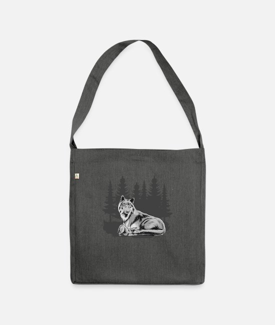 Nature Bags & Backpacks - Wolfskind Wolf Wolf pack Wolf mother forest shirt - Shoulder Bag recycled dark grey heather