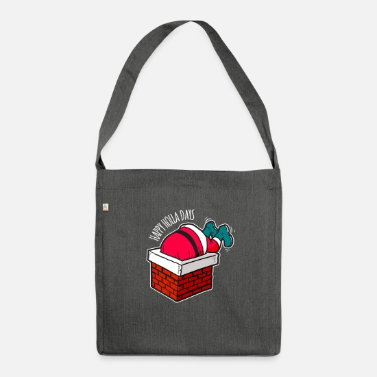 Christmas Bags & Backpacks - Happy Holla Days Funny Christmas Man Gift - Shoulder Bag recycled dark grey heather