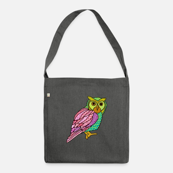 Proud Bags & Backpacks - Colorful Owl Painted Art Nocturnal Bird Lover Cool - Shoulder Bag recycled dark grey heather