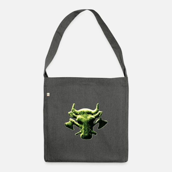 Butcher Bags & Backpacks - Butcher icon cow head with crossed hatchets - Shoulder Bag recycled dark grey heather