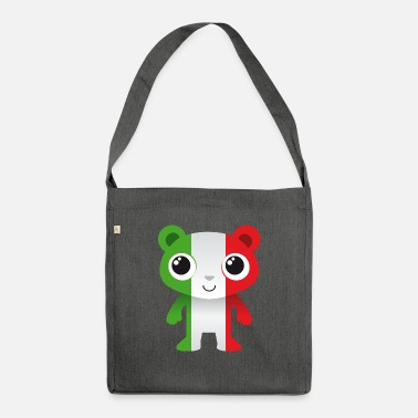 Flag Bear in colors of the Italian flag / coat of arms - Shoulder Bag recycled
