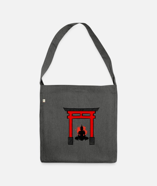 Japan Bags & Backpacks - Buddha Japan Asia China Asia Gate - Shoulder Bag recycled dark grey heather