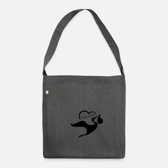 Gift Idea Bags & Backpacks - Baby inside - Shoulder Bag recycled dark grey heather