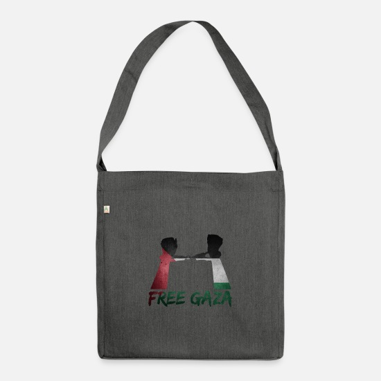 Gift Idea Bags & Backpacks - free gaza revolution handcuffs gift - Shoulder Bag recycled dark grey heather