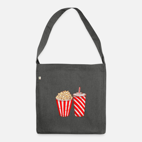 Fast Food Bags & Backpacks - Popcorn drink cola - Shoulder Bag recycled dark grey heather