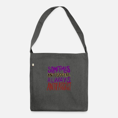 Antifascist ANTISOCIAL ANTIFASCIST - Shoulder Bag recycled
